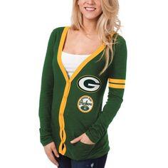 Green Bay Packers Ladies Slub Button-Up Long Sleeve Cardigan - Green
