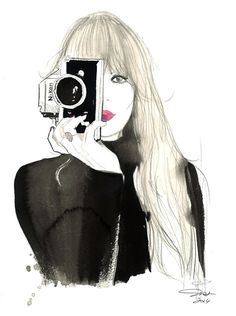 This is a print of my original watercolor fashion illustration, Nikon Girl. Print is sized x 11 on thick paper. Shipped in a bend Illustration Mode, Watercolor Illustration, Ansel Adams, Fashion Prints, Fashion Art, Watercolor Fashion, Portraits, Crayon, Art Photography