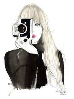 Nikon Girl print from original watercolor by JessicaIllustration, $25.00 #nikongirl #watercolor #jessicadurrant