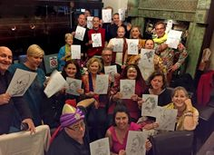 Big party full of caricatures at South Melbourne Indian Restaurant
