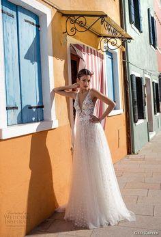 Gali Karten 2018 Bridal Sleeveless Deep V Neck Heavily Embellished Bodice Soft A Line Wedding