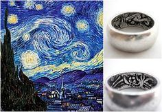 Here's something unusual, a Starry Night engraved wedding ring.