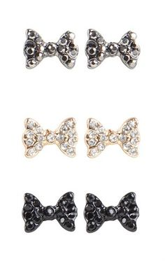 Deb Shops Set of 3 Stone Bow Stud Earrings $6.00
