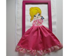 Doll with bird  machine embroidery applique designs 3D skirt