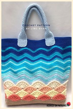 Beach Bag Crochet Pattern - A large tote bag with a beach themed design. There is plenty of room in this bag to carry all you'll need for a beach trip! Crochet Beach Bags, Bag Crochet, Crochet Purses, Crochet Gifts, Knitted Bags, Crochet Accessories, Pattern Making, Crochet Projects, Purses And Bags