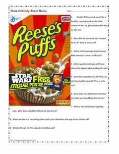 Look at this cereal ad and determine what makes it a strong ad or not. Cereal Ad to Analyze Literacy Worksheets, Reading Comprehension Worksheets, Writing Activities, Persuasive Writing Examples, Persuasive Text, English Phonics, Teaching English, English Class, Teaching Programs