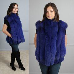 Amazing Plush Royal Blue Purple Genuine Fox Fur Vest Jacket Coat s M L | eBay
