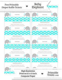 free aqua blue chevron baby elephant diaper raffle tickets