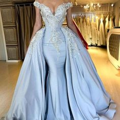 blue prom dresses with detachable skirt crystal lace appliqué off the shoulder beaded luxury prom gowns vestido de festa African Prom Dresses, Blue Evening Dresses, Prom Dresses Blue, Prom Party Dresses, Pageant Dresses, Evening Gowns, Wedding Dresses, Wedding Veil, Long Dresses