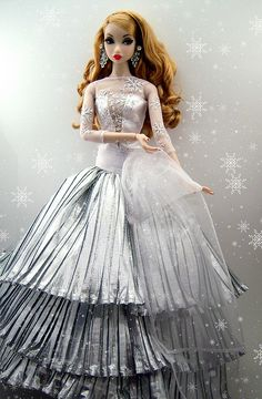 fashion doll, silver dress, Winter White WIllow by kingkevin, via Flickr