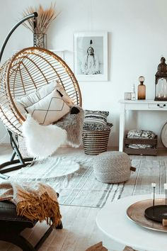 Visit This Warm, Natural Boho German Home For The Holidays House Rooms Luxury House Rooms iDeas Decor Room, Living Room Decor, Bedroom Decor, Bedroom Swing Chair, Bedroom Ideas, Living Room Seating, Master Bedroom, Easy Home Decor, Cozy House
