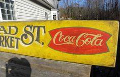 Market  Sign, original, hand made, Coca-Cola , fishtail logo, wall hanging,art,wood. $78.00, via Etsy.