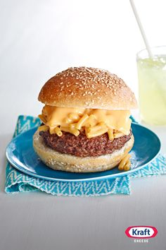 Mac 'N Cheeseburger- Is there a better way to enjoy yourself this summer than with a big juicy hamburger topped with creamy KRAFT Macaroni & Cheese? It's the perfect star of any All‐American BBQ.