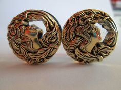 Vintage Gold Mermaid Button Plugs  Available by TinyLittleFunBits