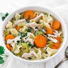 This homemade chicken noodle soup recipe made from scratch is so comforting and packed with chicken, vegetables, homemade broth, and noodles. #chickennoodle #soup Laksa, Gourmet Recipes, Soup Recipes, Lamb Recipes, Turkey Recipes, Dinner Recipes, Broccoli Cheddar, Stuffed Whole Chicken, Chicken Noodle Soup