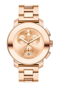 Movado has replaced MK in my rose-gold-watch-loving heart. Bold Chronograph bracelet watch, $850. (though sadly, the price isn't comparable...)
