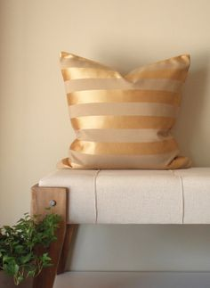 Decorative Gold Pillow - 20x20 - Gold Metallic and Beige Stripe - Decorative Throw Pillow Cover