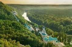 Svyatogorsk Holy Dormition Lavra is an Orthodox monastery standing on the right high bank of the Seversky Donets River in Svyatogorsk town of Donetsk region, Ukraine