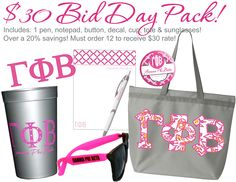 $30 Bid Day Pack. Includes a pen, notepad, button, decal, cup, tote and pair of sunglasses.  Available at CrescentCorner.com