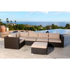 Abbyson Living® Newport 6-Piece Outdoor Sectional in Espresso - BedBathandBeyond.com