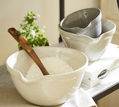 Rhodes Mixing Bowls, Set of 3... So pretty!!  They look hand thrown...  potterybarn.com