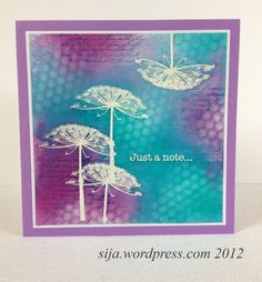 handmade card ... beautiful collage ... purple and turquoise over white ... like the delicate flowers embossed in white ... colors sponged on ... some stencil pattern ... some stamped script ... gorgeous card!!