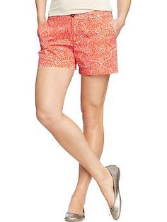 Womens Printed-Twill Shorts (5) | Old Navy