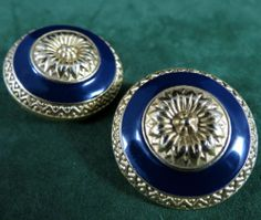 C Stein Signed Earrings Elegant Vintage Gold Tone Embossed Blue Enamel | eBay