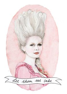 Marie Antoinette watercolor portrait illustration PRINT Kirsten Dunst Sofia Coppola ''Let them eat cake'' ***which she did NOT say
