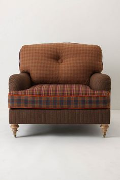 Comfy overstuffed armchair in different brown plaid hues Big Comfy Chair, Comfy Armchair, Cozy Chair, Brown Armchair, Plaid Chair, Overstuffed Chairs, Round Chair, Oversized Chair, Furniture Sale