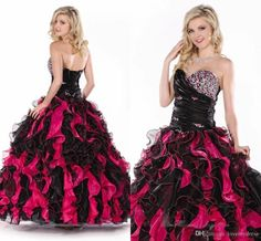 Red And Black Pipings Ball Gown Long Prom Dress Pageant Crystals Sparked Party…