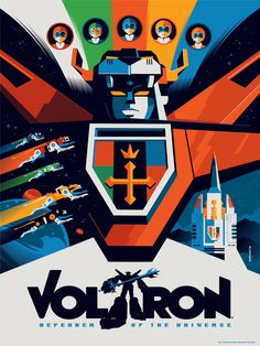 Voltron by Tom Whalen Limited Edition Licensed Screenprint 18x24 - 7 color screen print Paper: Neenah Antique Gray 100lb Run Size: 300 Markings: Numbered Printed by D Screenprinting – Seattle WA Produced by Acidfree Gallery