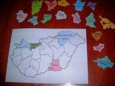 Játékos tanulás és kreativitás: Magyarország megyéi - játékok Diagram, Map, Location Map, Maps