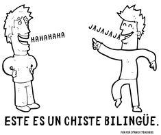 "Planning on using ""Jueves de ja ja ja"" or ""Día de risas"" in your classes? Start with these easy to comprehend jokes. Spanish Jokes, English Jokes, Spanish Lessons, Learn Spanish, Spanish Sayings, Spanish Teacher, Spanish Classroom, Classroom Walls, Classroom Posters"