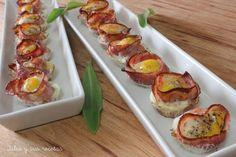 Tartaletas de bacon y huevos de codorniz. Julia y sus recetas