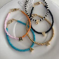 Monogram Bracelet, Personalized Bracelets, Custom Jewelry, Handmade Jewelry, Handmade Gifts, Beaded Jewelry Designs, Bracelet Designs, Handmade Bracelets, Earrings Handmade