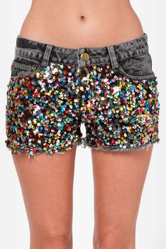 Confetti Cutoff Sequin Denim Shorts