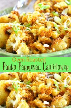 You're certain to shake-up your side dish menu when you serve this Oven Roasted Panko-Parmesan Cauliflower to compliment your favorite entrees. Roasted Califlower, Parmesan Roasted Cauliflower, Califlower Recipes, Cauliflower Bites, Frozen Cauliflower Recipes, Oven Baked Cauliflower, Cauliflower Breadsticks, Side Dish Recipes, Vegetable Recipes