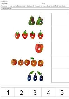 ID en vrac autour de l'éducation: LA CHENILLE QUI FAIT DES TROUS Eric Carle, Very Hungry Caterpillar Printables, Hungry Caterpillar Craft, Preschool Number Worksheets, Math Activities, First Day Of School Activities, Spring Theme, Montessori Materials, Pre Writing