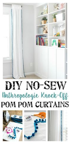 DIY No-Sew Pom Pom Curtains | How to make DIY no-sew pom pom curtains in an hour and for $100 cheaper than Pottery Barn & Anthropologie for a playful vibe in any room.
