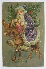 1908 Purple Robe Father Christmas / Santa Claus on Donkey