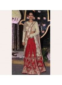 Kmozi Red & Off-White Color Designer Lehenga Choli..  http://www.kmozi.com/bollywood-replica/online-shopping-bollywood-actress-lehenga-choli/kmozi-red-off-white-color-designer-lehenga-choli-1304