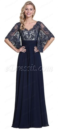Wide sleeves lace top formal dress! #edressit #navyblue #dress #formal