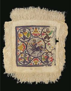 A COPTIC WOOL AND LINEN TEXTILE PANEL WITH CENTAUR CIRCA 5TH-6TH CENTURY A.D. -  The square panel with details in vibrant colour, the central roundel with a prancing centaur playing the double flute, each linked corner roundel with figures wearing billowing mantles, one carrying a duck in his arms the others with shields and raised stones(?), a laden fruit basket at each side, the panel attached to a long fringed border, glazed, with crack 20½ x 18 1/8 in. (52 x 46 cm.) approx.