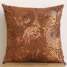 Decorative Throw Pillow Covers Accent Pillow Couch 16 Inch Silk Pillow Cover Sequins Embroidered Copper Swirls Bedding Home Decor Housewares...