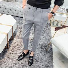 Fashion Business Stretch Suit Pants Man Luxury Brand Casual Pants Men Straight Slim Fit Formal Pants Male Plus Size Indian Men Fashion, Mens Fashion Suits, Fashion Pants, Fashion Outfits, Mens Kurta Designs, Mens Dress Pants, Suit Pants, Pants For Men, Blue Pants