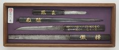 Set of Tosogu : Kozuka-saw, Kozuka-Kogatana, unusual Kogai, Bashin : Mumei (Den-Ichijp) | Japanese Sword Shop Aoi-Art.