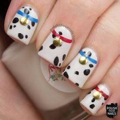 15 Minion Nails That Are Anything But Despicable Polish Those Nails // Twinsie Tuesday – Inspired by your Childhood Dalmatians) Cute Nail Art, Cute Nails, Pretty Nails, Disney Nail Designs, Nail Art Designs, Animal Nail Designs, Disney Inspired Nails, Disney Nails Art, Easy Disney Nails