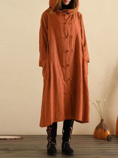Women Vintage Plate Buckle Long Sleeve Hooded Thin Coats