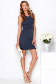 Madison Square Royal Twist Dress - Denim Blue Dress - Bodycon Dress - $83.00